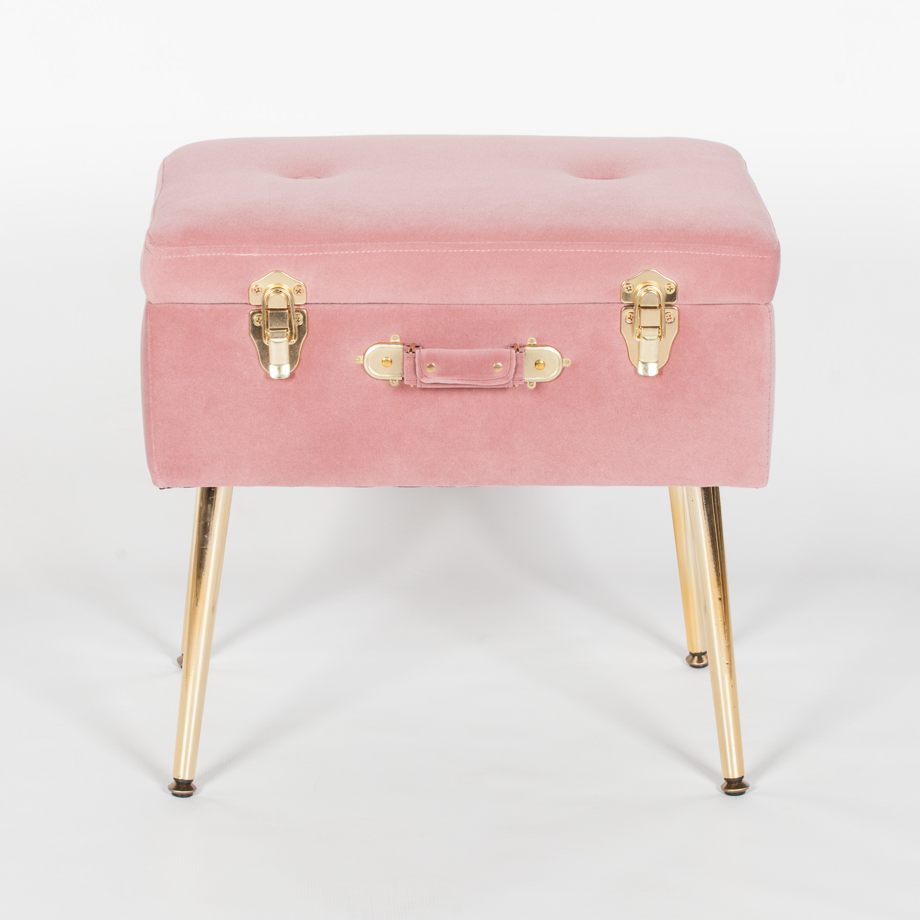 Pink Suitcase Stool With Gold Legs Maison Reproductions Ltd