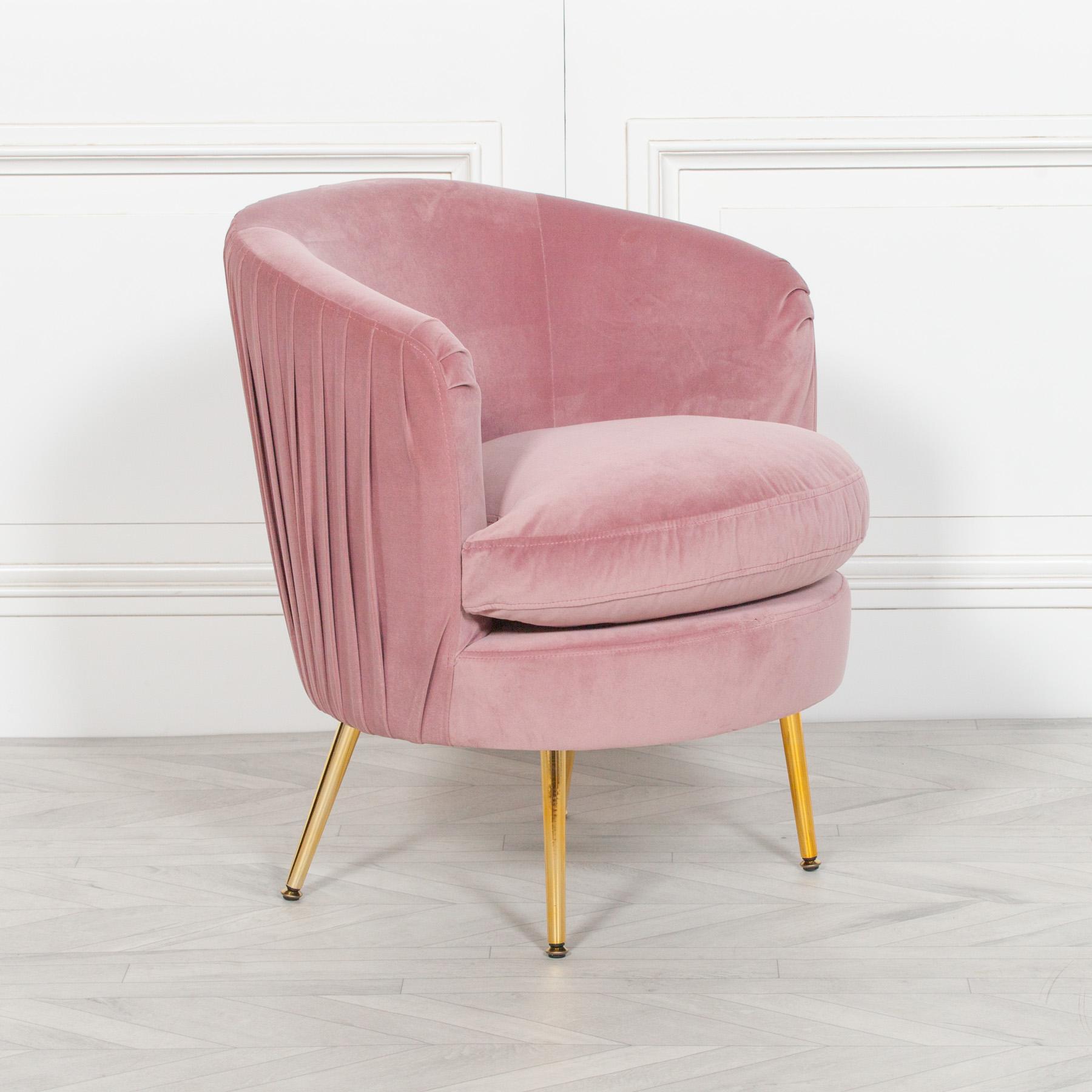 Pink Pleated Velvet Bedroom Chair   Maison Reproductions ltd
